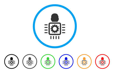 electronic components: Cyborg Processor rounded icon. Style is a flat cyborg processor gray symbol inside light blue circle with black, gray, green, blue, red, orange versions.