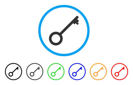 Key rounded icon. Style is a flat key grey symbol inside light blue circle with black, gray, green, blue, red, orange color versions. Vector designed for web and software interfaces. Illustration