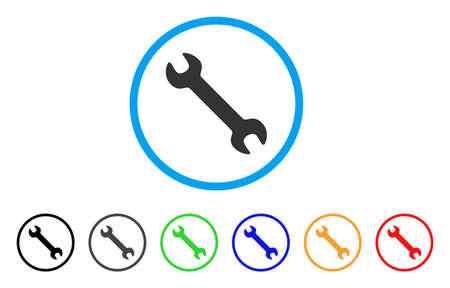 Wrench rounded icon. Style is a flat wrench grey symbol inside light blue circle with black, gray, green, blue, red, orange variants. Vector designed for web and software interfaces.