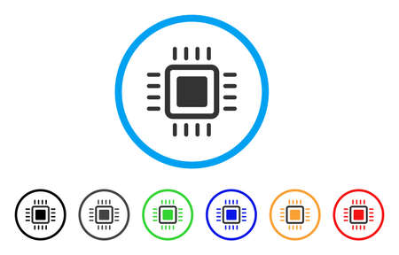 electronic components: Processor rounded icon. Style is a flat processor gray symbol inside light blue circle with black, gray, green, blue, red, orange variants. Vector designed for web and software interfaces.