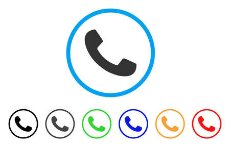Phone Receiver rounded icon. Style is a flat phone receiver gray symbol inside light blue circle with black, gray, green, blue, red, orange versions. Vector designed for web and software interfaces.