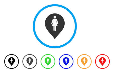 Marqueur de toilette féminin arrondi icône. Le style est un symbole gris de marqueur de toilette femelle plat à l'intérieur du cercle bleu clair avec des variantes noires, grises, vertes, bleues, rouges, oranges. Vecteurs