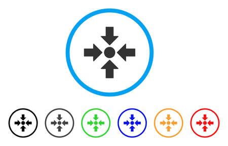 Point de réunion arrondi icône. Le style est un symbole gris de point de rencontre plat à l'intérieur du cercle bleu clair avec des versions de couleur noire, grise, verte, bleue, rouge, orange. Banque d'images - 86480000