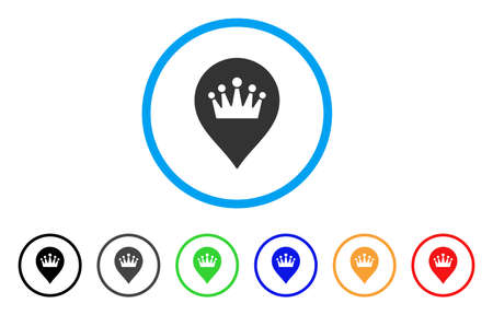 Crown Marker rounded icon. Style is a flat crown marker grey symbol inside light blue circle with black, gray, green, blue, red, orange color versions. Vector designed for web and software interfaces.