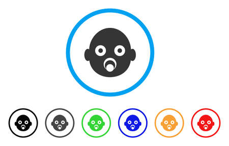 Baby Head rounded icon. Style is a flat baby head gray symbol inside light blue circle with black, gray, green, blue, red, orange color versions. Vector designed for web and software interfaces. Illustration