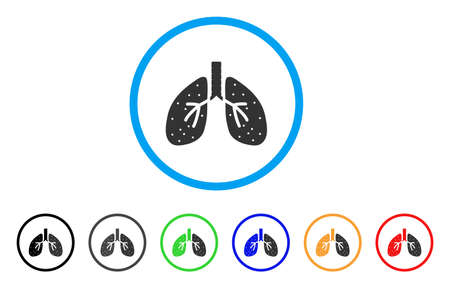 Lungs rounded icon. Style is a flat lungs grey symbol inside light blue circle with black, gray, green, blue, red, orange versions. Vector designed for web and software interfaces. Illustration