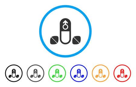 Männliche Verbesserungspillen abgerundet Symbol. Style ist ein flaches männliches Enhancement Pills-Symbol in hellblauem Kreis mit schwarzen, grauen, grünen, blauen, roten, orangen Farbvarianten.