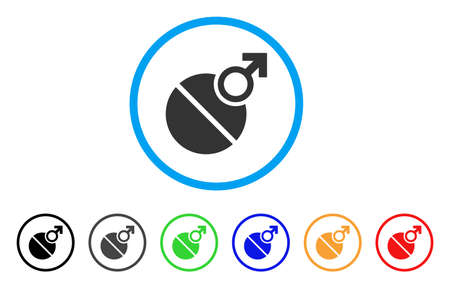 impotence: Male Tablet rounded icon. Illustration