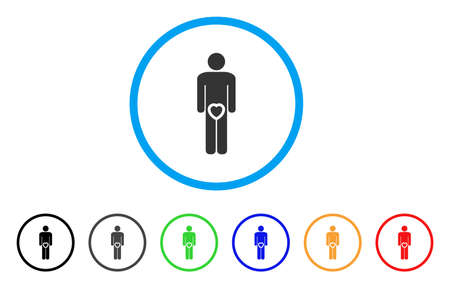 Male Love Genitals rounded icon. Style is a flat male love genitals grey symbol inside light blue circle with black, gray, green, blue, red, orange color versions. Illustration