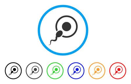 Sperma Inseminatie afgerond pictogram. Stijl is een platte sperma inseminatie grijs symbool in lichtblauwe cirkel met zwarte, grijze, groene, blauwe, rode, oranje varianten.