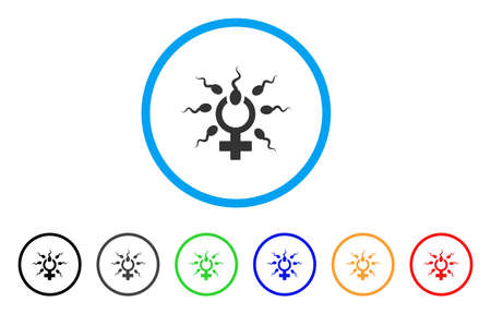 Sperm Penetration rounded icon. Style is a flat sperm penetration gray symbol inside light blue circle with black, gray, green, blue, red, orange versions.