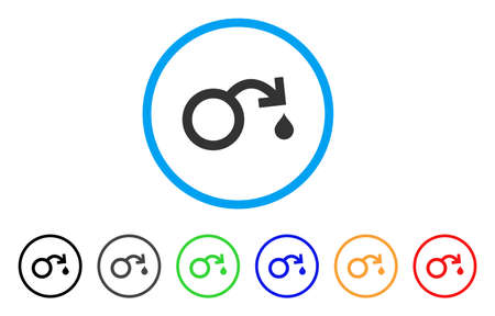 impotence: Venereal Disease Impotence rounded icon. Style is a flat venereal disease impotence grey symbol inside light blue circle with black, gray, green, blue, red, orange versions. Illustration