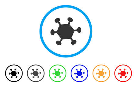 Parasite Microbe rounded icon. Style is a flat parasite microbe gray symbol inside light blue circle with black, gray, green, blue, red, orange variants.