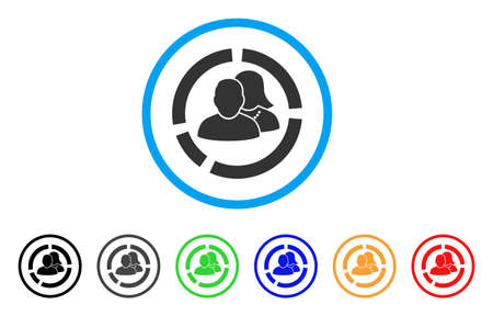 People Diagram rounded icon. Style is a flat people diagram gray symbol inside light blue circle with black, gray, green, blue, red, orange variants. Vector designed for web and software interfaces. Illustration