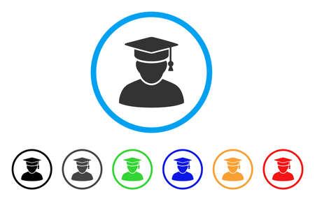 Knowledge Man abgerundete Symbol. Style ist ein flaches Wissensmann-Symbol in hellblauem Kreis mit schwarzen, grauen, grünen, blauen, roten und orangefarbenen Versionen. Vektor für Web- und Software-Schnittstellen.