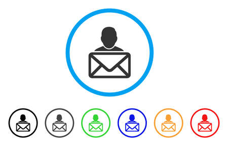 Mail Recipient rounded icon. Style is a flat mail recipient grey symbol inside light blue circle with black, gray, green, blue, red, orange versions. Vector designed for web and software interfaces. Illustration