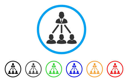People Organization Structure rounded icon. Style is a flat people organization structure gray symbol inside light blue circle with black, gray, green, blue, red, orange versions. Illusztráció
