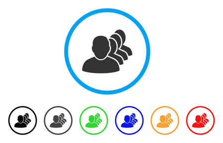 squad: People Squad rounded icon. Style is a flat people squad gray symbol inside light blue circle with black, gray, green, blue, red, orange variants. Vector designed for web and software interfaces. Illustration