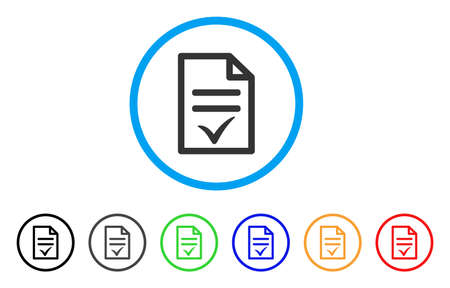 Agreement Document rounded icon. Style is a flat agreement document grey symbol inside light blue circle with black, gray, green, blue, red, orange color versions. Illustration
