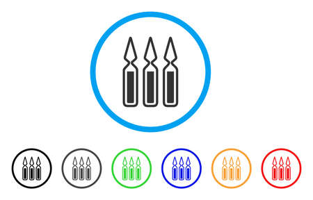 Ampoules rounded icon. Style is a flat ampoules gray symbol inside light blue circle with black, gray, green, blue, red, orange versions. Vector designed for web and software interfaces.