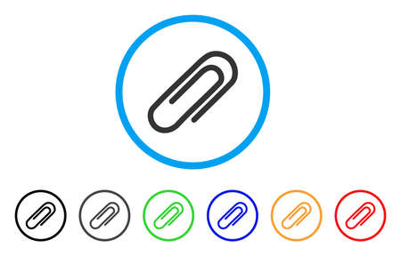 Attach Paperclip rounded icon. Style is a flat attach paperclip gray symbol inside light blue circle with black, gray, green, blue, red, orange color versions. Illustration
