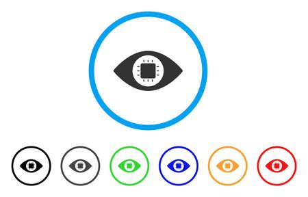 バイオニックの目の回路は、アイコンを丸められます。スタイルは、黒、グレー、緑、青、赤、オレンジのバージョンと光の青い円の中フラット バ