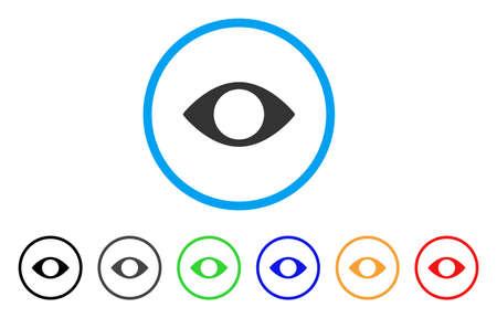 盲目の丸い目のアイコン。スタイルは、黒、グレー、緑、青、赤、オレンジ色のバリエーションを持つ光の青い円の中フラット ブラインド目グレー  イラスト・ベクター素材