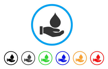 Blood Donation Hand rounded icon. Style is a flat blood donation hand gray symbol inside light blue circle with black, gray, green, blue, red, orange color versions.
