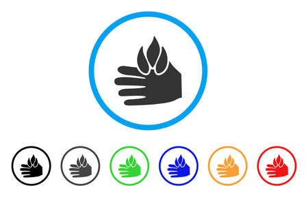 Burn hand rounded icon. Style is a flat burn hand gray symbol inside light blue circle with black, gray, green, blue, red, orange variants. Designed for web and software interfaces.