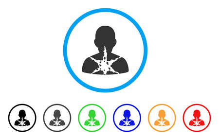 Icône arrondie patient endommagé par cancer. Le style est un symbole gris de patient blessé par cancer à l?intérieur du cercle bleu clair avec des versions noir, gris, vert, bleu, rouge et orange.
