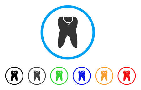 Caries tooth rounded icon. Style is a flat caries tooth grey symbol inside light blue circle with black, gray, green, blue, red, orange variants. Designed for web and software interfaces. Illustration