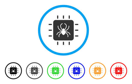 electronic components: Chip Bug rounded icon. Style is a flat chip bug grey symbol inside light blue circle with black, gray, green, blue, red, orange color versions. Vector designed for web and software interfaces. Illustration