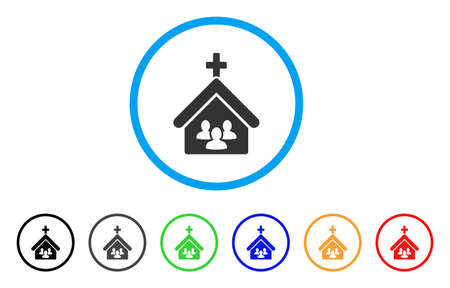 Church People rounded icon. Style is a flat church people grey symbol inside light blue circle with black, gray, green, blue, red, orange versions. Vector designed for web and software interfaces.