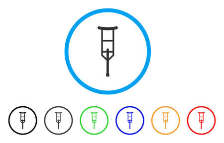 Crutch rounded icon. Style is a flat crutch grey symbol inside light blue circle with black, gray, green, blue, red, orange variants. Vector designed for web and software interfaces. Illustration