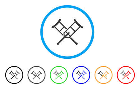 Crutches rounded icon. Style is a flat crutches gray symbol inside light blue circle with black, gray, green, blue, red, orange color versions. Vector designed for web and software interfaces. Illustration