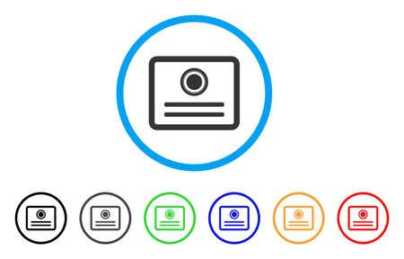 Diplôme arrondi icône. Le style est un symbole plat de diplôme gris dans un cercle bleu clair avec des versions de couleurs noire, grise, verte, bleue, rouge et orange. Vecteur conçu pour les interfaces Web et logicielles.