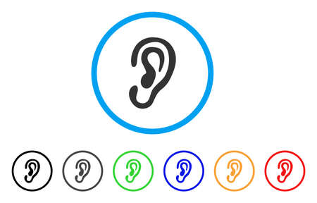 Ear rounded icon. Style is a flat ear gray symbol inside light blue circle with black, gray, green, blue, red, orange variants. Vector designed for web and software interfaces. Çizim