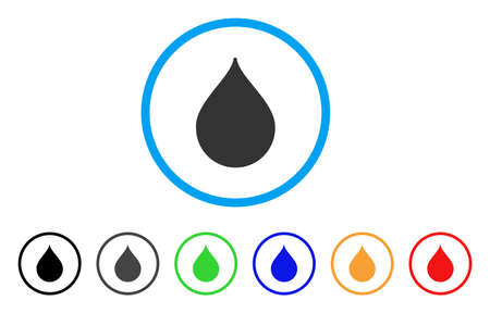 Drop rounded icon. Style is a flat drop gray symbol inside light blue circle with black, gray, green, blue, red, orange variants. Vector designed for web and software interfaces.