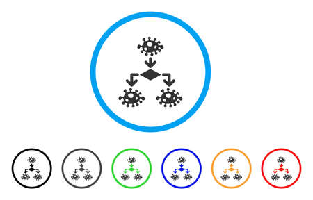 Epidemic Growth Scheme rounded icon. Style is a flat epidemic growth scheme grey symbol inside light blue circle with black, gray, green, blue, red, orange versions.