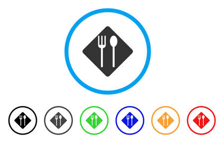 Fork And Spoon rounded icon. Style is a flat fork and spoon grey symbol inside light blue circle with black, gray, green, blue, red, orange variants. Vector designed for web and software interfaces.