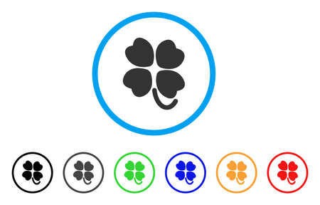 leafed: Four-Leafed Clover rounded icon. Style is a flat four-leafed clover gray symbol inside light blue circle with black, gray, green, blue, red, orange color versions.