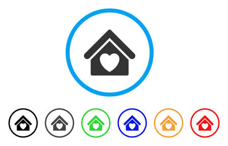 Hospices rounded icon. Style is a flat hospice gray symbol inside light blue circle with black, gray, green, blue, red, orange color versions. Vector designed for web and software interfaces. Ilustração