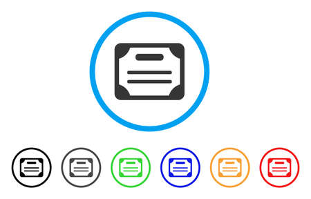 License rounded icon. Style is a flat license grey symbol inside light blue circle with black, gray, green, blue, red, orange color versions. Vector designed for web and software interfaces.