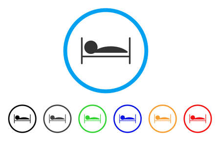 lying in bed: Patient Sleep rounded icon. Style is a flat patient sleep gray symbol inside light blue circle with black, gray, green, blue, red, orange variants. Vector designed for web and software interfaces.