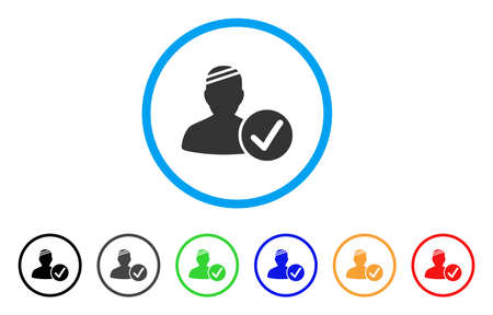 Patient Valid rounded icon. Style is a flat patient valid grey symbol inside light blue circle with black, gray, green, blue, red, orange color versions.