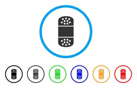 Gips afgerond pictogram. Stijl is een plat gips grijs symbool in lichtblauwe cirkel met zwarte, grijze, groene, blauwe, rode, oranje versies. Vector ontworpen voor web- en software-interfaces.