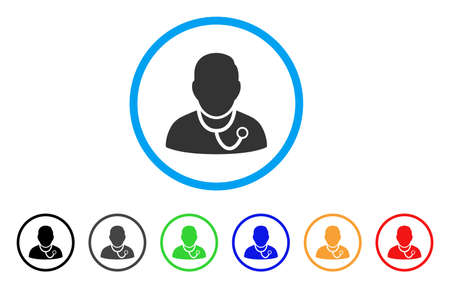 auscultation: Physician rounded icon. Style is a flat physician grey symbol inside light blue circle with black, gray, green, blue, red, orange versions. Vector designed for web and software interfaces.