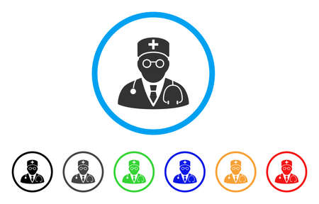 auscultation: Physician rounded icon. Style is a flat physician gray symbol inside light blue circle with black, gray, green, blue, red, orange variants. Vector designed for web and software interfaces.