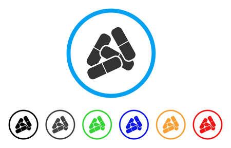 Pillen afgerond pictogram. Stijl is een grijs symbool met platte pillen in lichtblauwe cirkel met zwarte, grijze, groene, blauwe, rode, oranje kleurenversies. Vector ontworpen voor web- en software-interfaces.