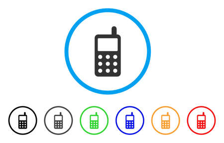 Portable Radio Transmitter rounded icon. Style is a flat portable radio transmitter grey symbol inside light blue circle with black, gray, green, blue, red, orange versions. Illustration